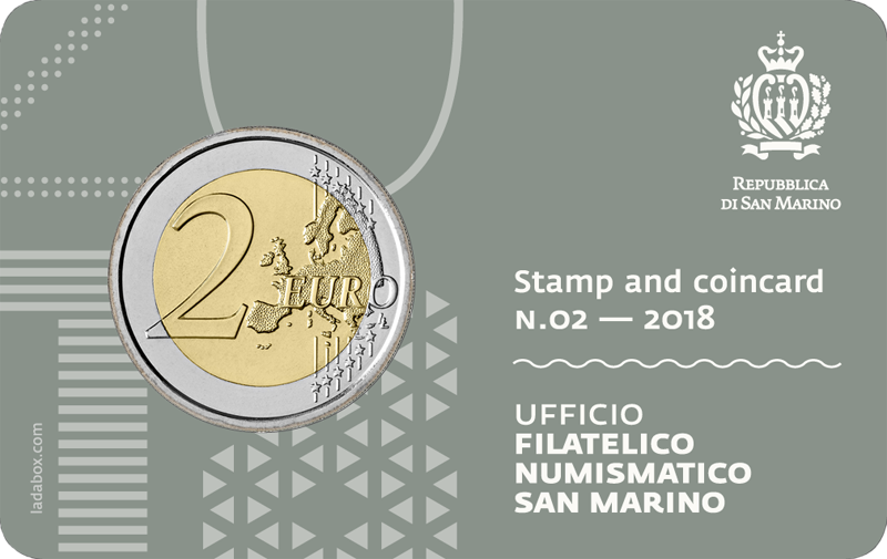 stamp and coin card san marino unesco2 2018