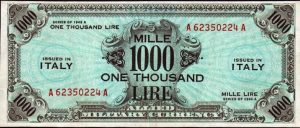.Occupazione Americana dell'Italia – Allied Military Currency – Valori da50 e 1000 lire. Serie 1943A