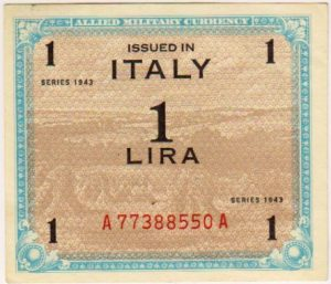Occupazione Americana dell'Italia – Allied Military Currency – Valori da 1, 2,5 e 10 lire. Serie 1943